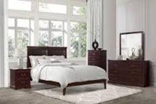 dark brown wooden 5-piece bedroom set