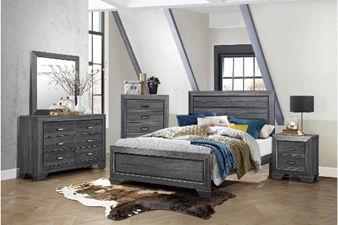 light grey wooden 5-piece bedroom set