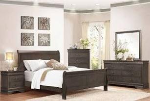 dark grey wooden 5-piece bedroom set