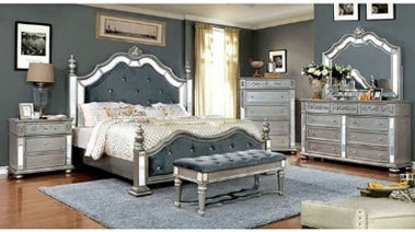 grey and white wooden 5-piece bedroom set