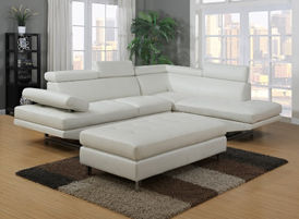 white leather couch with ottoman display