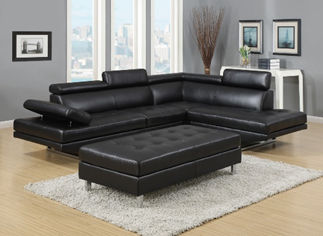 black leather couch with ottoman display