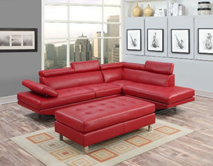 red leather couch with ottoman display
