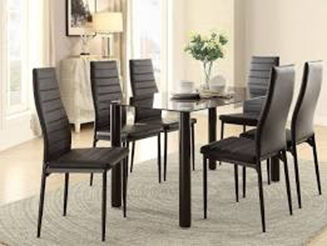 black chair glass table 6 person dining room set