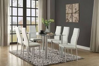 white chair glass table 6 person dining room set