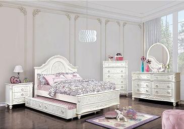 white wooden 5-piece bedroom set