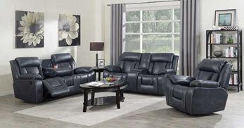 Three-piece dark grey leather reclining living room set
