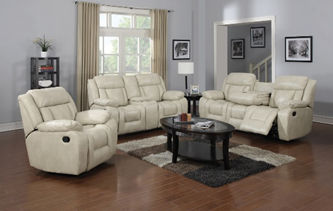 Three-piece creme leather reclining living room set