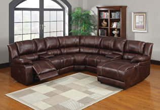 brown leather reclining sectional display