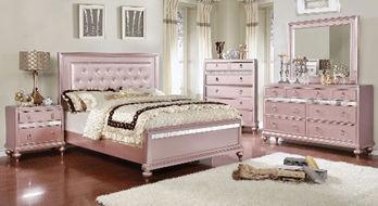 pink wooden 5-piece bedroom set