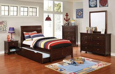 brown wooden 5-piece bedroom set