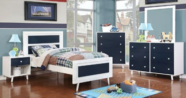 white and blue wooden 5-piece bedroom set