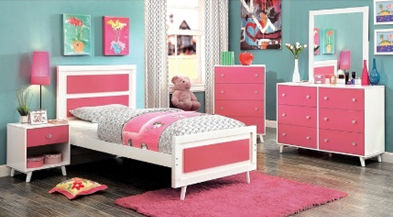 white and pink wooden 5-piece bedroom set