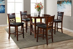 black leather and brown wooden 4 seat dining room set