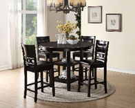 black leather wooden 4 seat dining room set