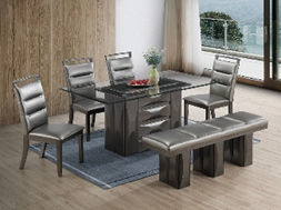 grey leather 6 seat dining set