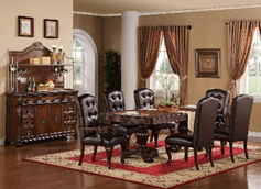 dark brown leather and wooden 6 person dining room set