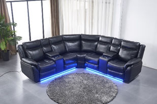 light-up black leather sectional display