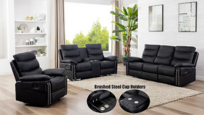 Three-piece black leather reclining living room set