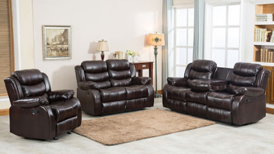 Three-piece brown leather reclining living room set
