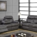 2 grey reclining loveseat display
