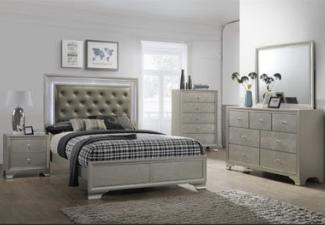 grey wooden 5-piece bedroom set