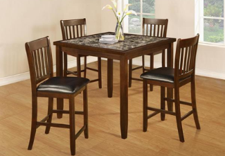 brown wooden 4-seat dining room set