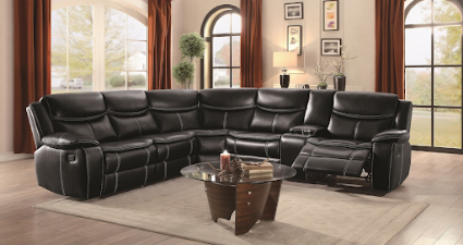 black leather sectional display