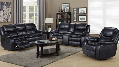 black leather three-piece reclining family room get