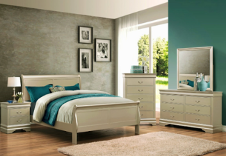 beige wooden 5-piece bedroom set