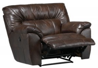 brown leather reclining single chair