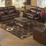 3 brown leather reclining loveseat with coffee table display
