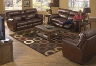 3 black leather reclining loveseat with coffee table display