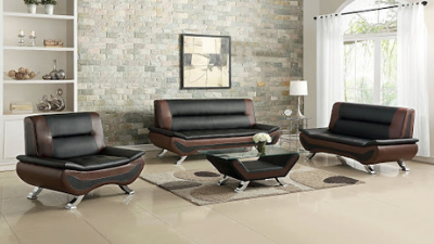 Three-piece brown and black living room set