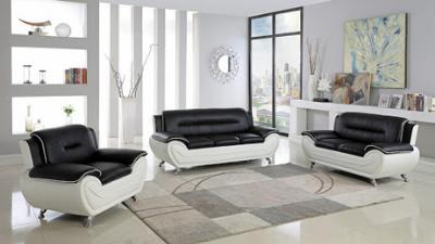 Three-piece black and white living room set
