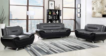 Three-piece grey and black living room set