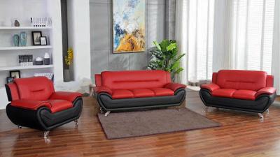 Three-piece orange and black living room set