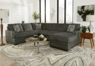 dark grey sectional with coffee table display