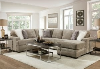 grey sectional with coffee table display