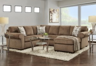 beige sectional with coffee table display