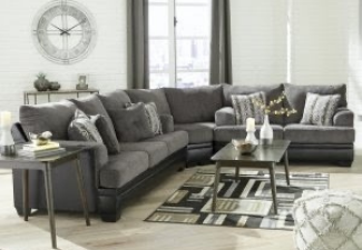 light grey sectional with coffee table display
