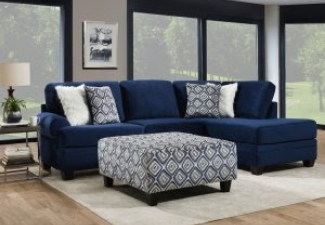 Navy Sectional with ottoman