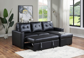 black leather couch display