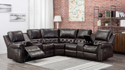 dark brown leather reclining sectional display
