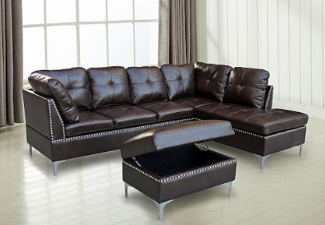 dark brown leather sectional with ottoman display
