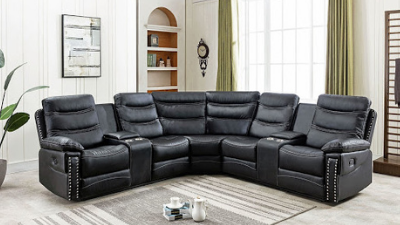 black leather reclining sectional display