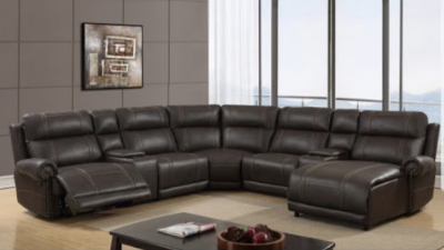 black leather sectional with coffee table display