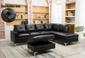 black leather sectional with ottoman display