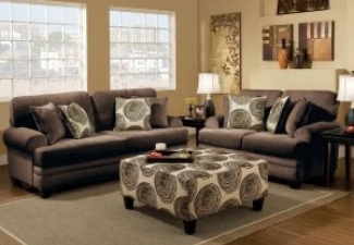 2 grey loveseat with ottoman display