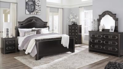 black wooden 5-piece bedroom set